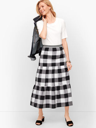 Buffalo Check Tiered Midi Skirt
