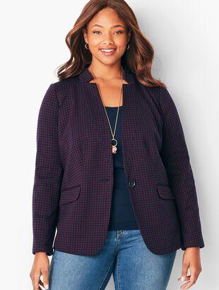 Plus Size Jacquard Check Blazer
