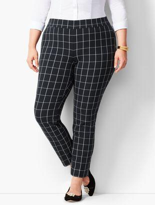 Bi-Stretch Pull-On Ankle Pants - Windowpane Plaid