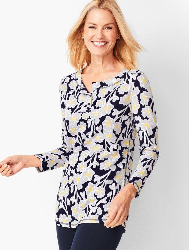 Three-Quarter Sleeve Floral T-Shirt