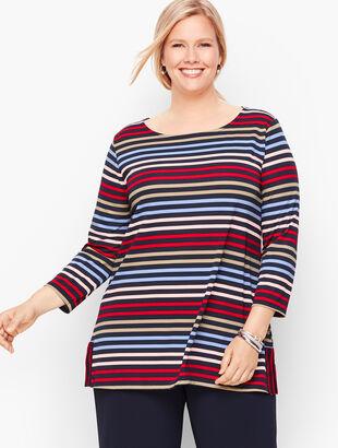Knit Jersey Bateau Neck Tunic - Stripe