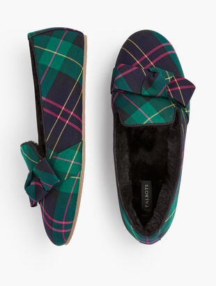 Fireside Bow Slippers - Talbots Tartan