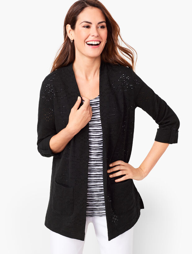 Diamond Textured Open-Front Cardigan