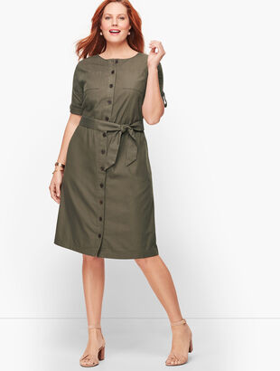 Fluid Twill Shirtdress