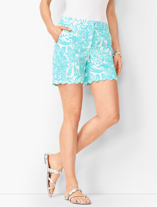 Textured Scallop-Hem Shorts - Floral