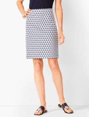 Classic Cotton A-Line Skirt - Fan Print