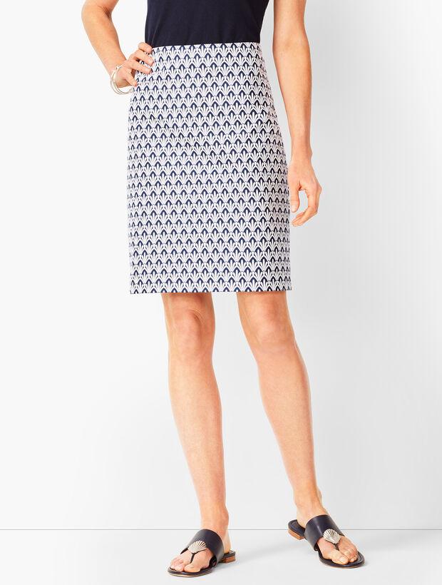 Classic Cotton A-Line Skirt - Fan Print