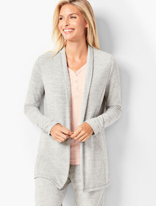 Brushed Melange Open-Front Cardigan