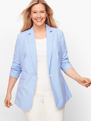 Gingham Single Button Blazer