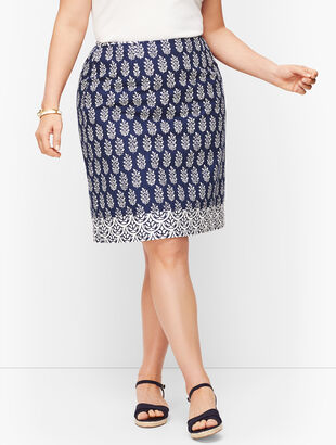 Cotton Canvas A-Line Skirt - Geo Print