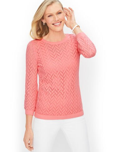 Cotton Linen Pointelle Sweater - Solid