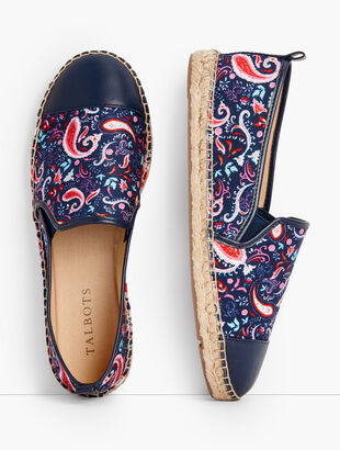 Izzy Espadrille Flats - Paisley Watercolor