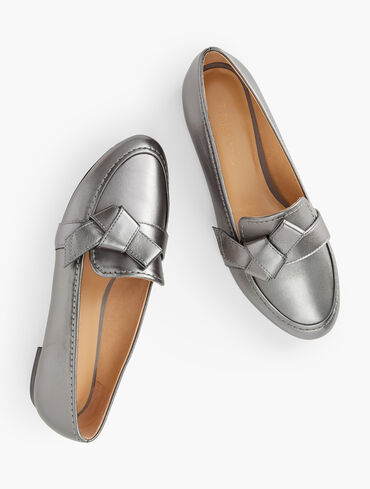 Ryan Knot Metallic Leather Loafers