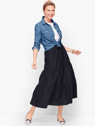Tiered Maxi Skirt  - Solid