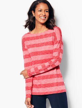 Stripe Button-Sleeve Top