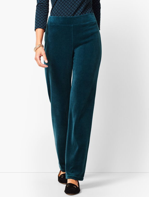 Luxe Velour Straight-Leg Pants