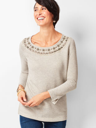 Embellished-Crewneck Fair Isle Top