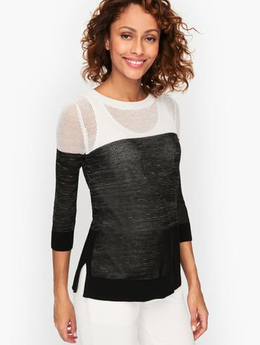 Mesh Stitch Pullover - Colorblock