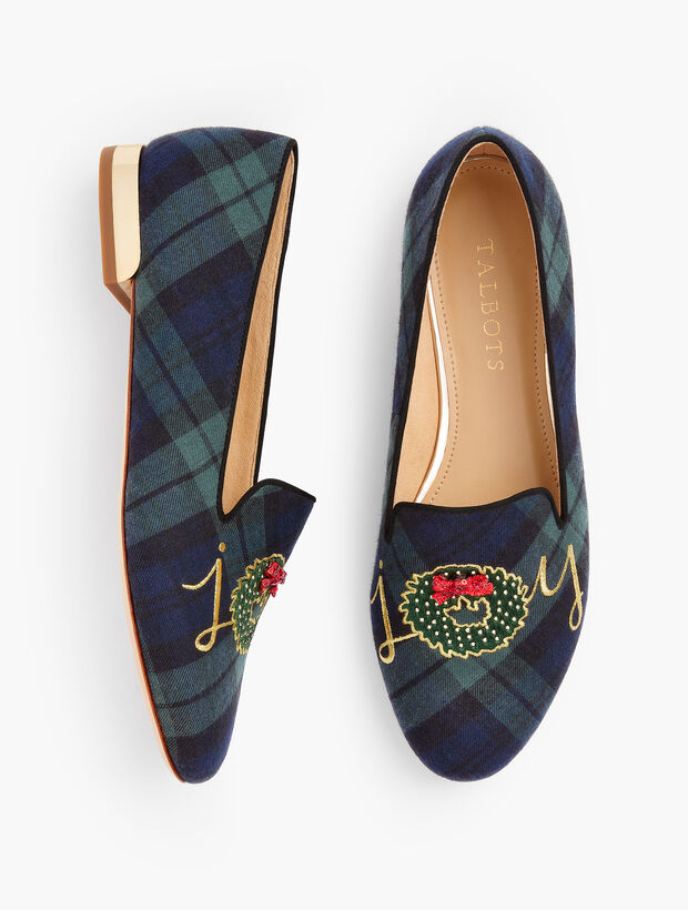 Ryan Loafers Embroidered Black Watch Plaid Joy Wreath