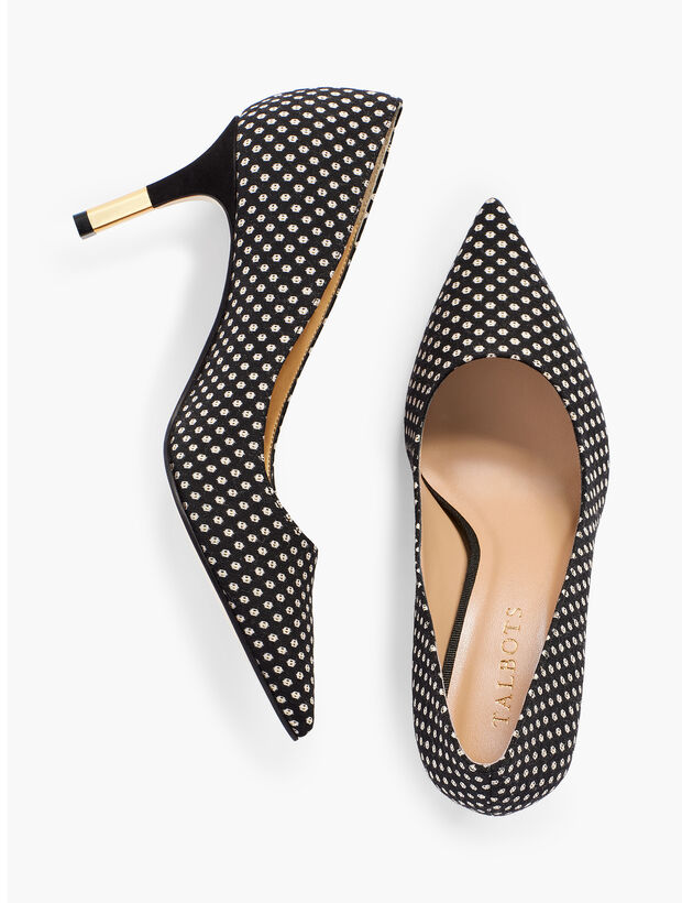 Erica Gold-Tipped Heel Pumps - Black/Ivory Shimmer