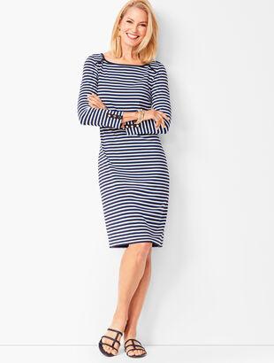 Three-Quarter Sleeve Stripe Shift Dress