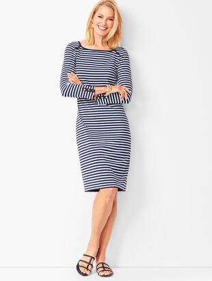 Three-Quarter Sleeve Stripe Shift Dress