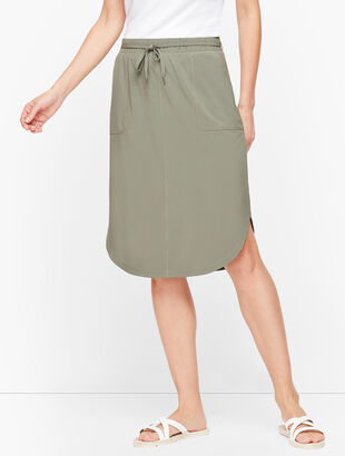 Lightweight Stretch Woven Midi Skirt