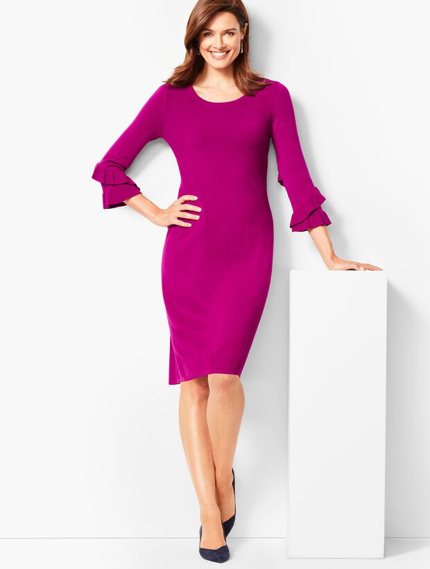 Three-Quarter-Sleeve Sweater Dress