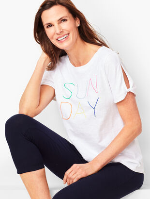 "Embroidered ""Sunday"" Tee"