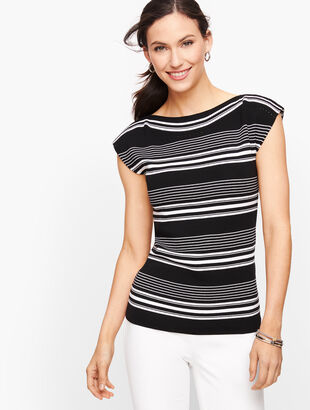Cap Sleeve Sweater - Stripe
