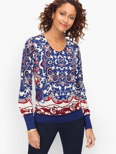 Soft Merino V-Neck Sweater - Medallion Print
