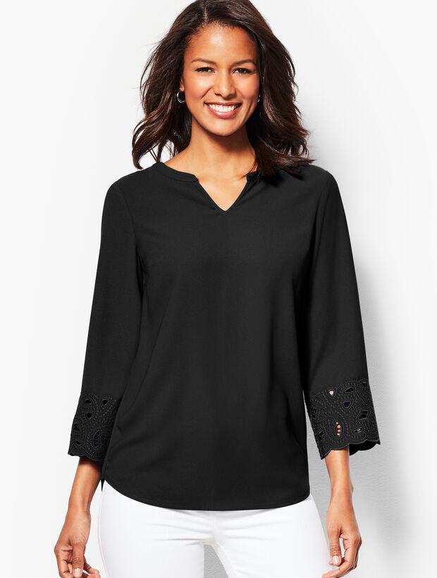 Embroidered-Sleeve Tunic Top