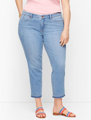 Straight Leg Crop Jeans - Dropped Hem Foster Wash