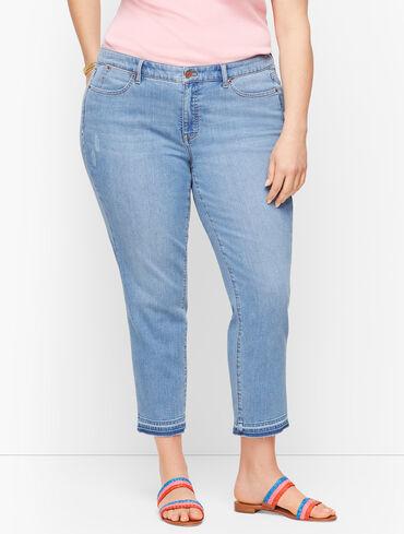 Straight Leg Crop Jeans - Dropped Hem Foster Wash