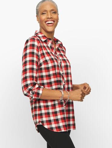 Ocean Plaid Cotton Metallic Button Front Shirt