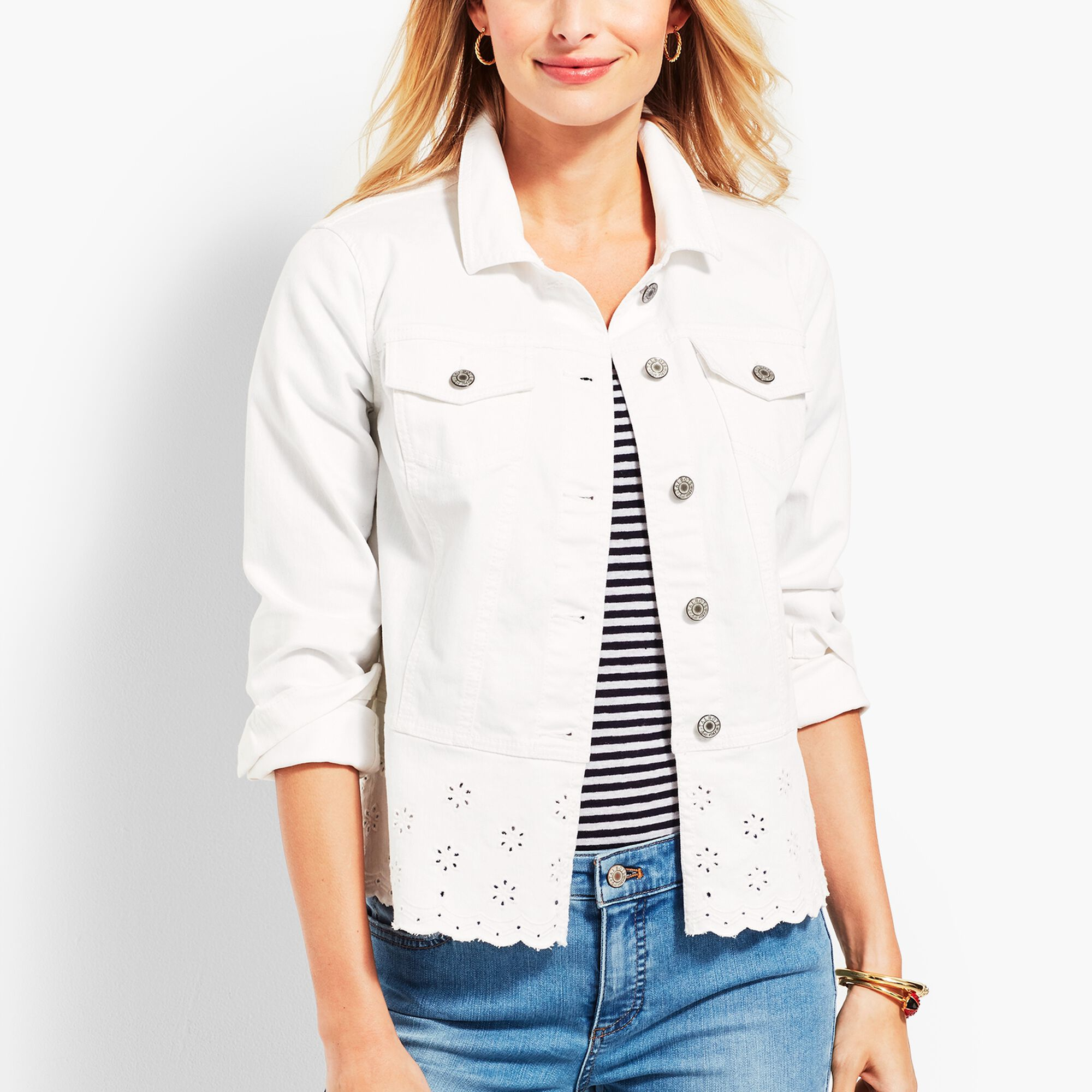 look good shoes sale new product recognized brands Peplum White-Denim Jacket