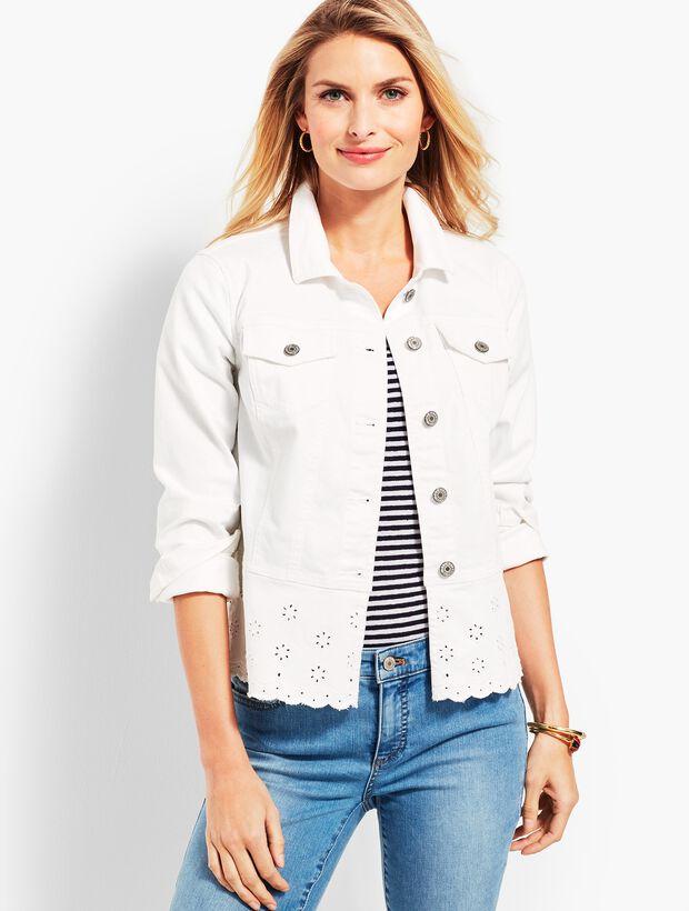 Peplum White-Denim Jacket