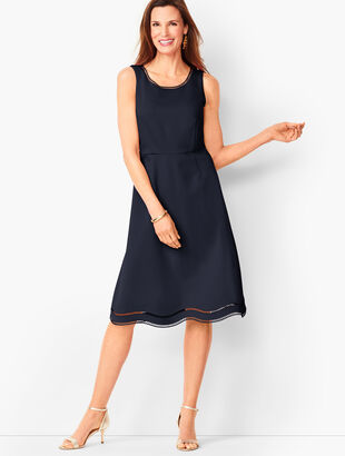 Ladder-Trim Ponte Fit & Flare Dress