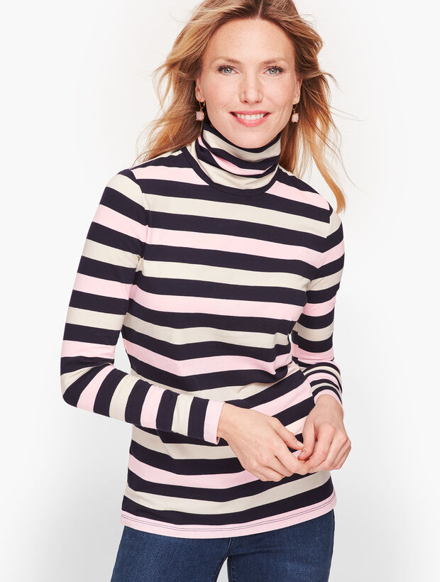 Long Sleeve Turtleneck Tee - Calverton Stripe