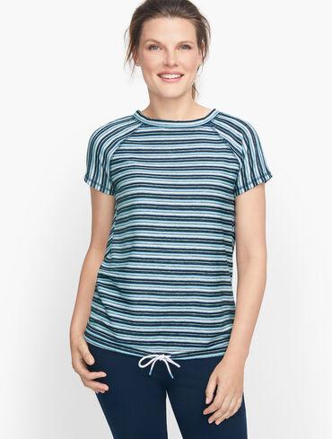 Drawstring Hem Stripe Pullover