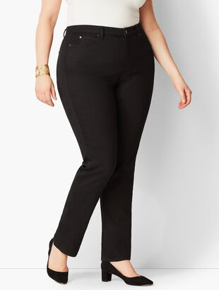 Plus Size Exclusive High-Waist Straight-Leg Jeans - Curvy Fit/Black