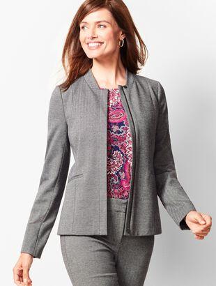 Italian Luxe Knit Herringbone Zip-Front Jacket