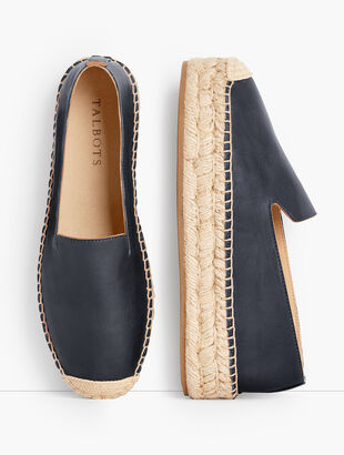Quinn Leather Platform Espadrilles