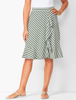 Diagonal-Stripe Ruffle Wrap Skirt