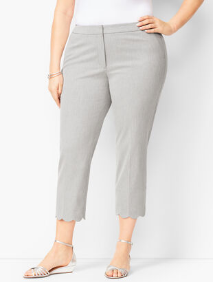 Plus Size Talbots Chatham Scallop-Hem Crops - Greystone Heather