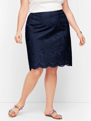Eyelet Pineapple A-Line Skirt