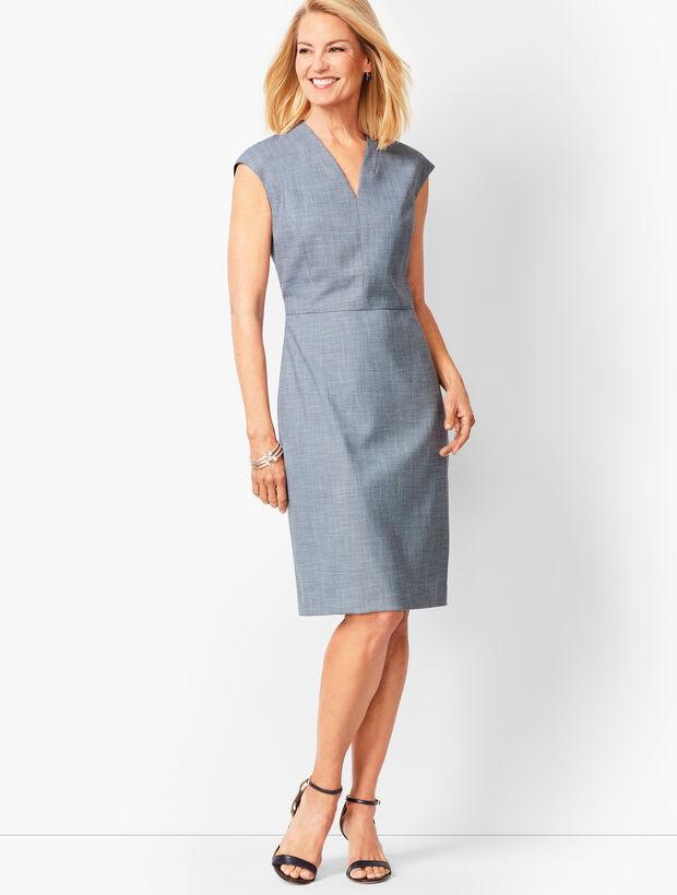 Tailored Sharkskin Sheath Dress