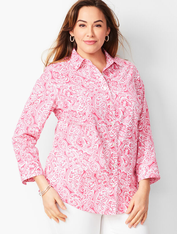 Plus Size Exclusive Perfect Shirt - Three-Quarter Sleeves - Paisley