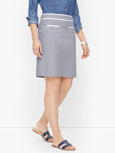 Cotton Seersucker A-Line Skirt