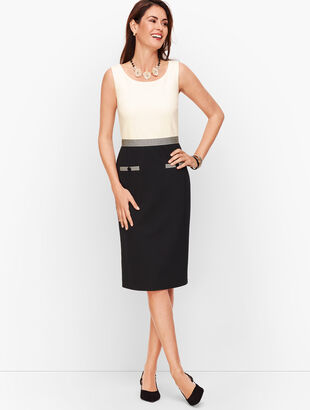 Ponte Grosgrain-Trim Sheath Dress - Colorblock
